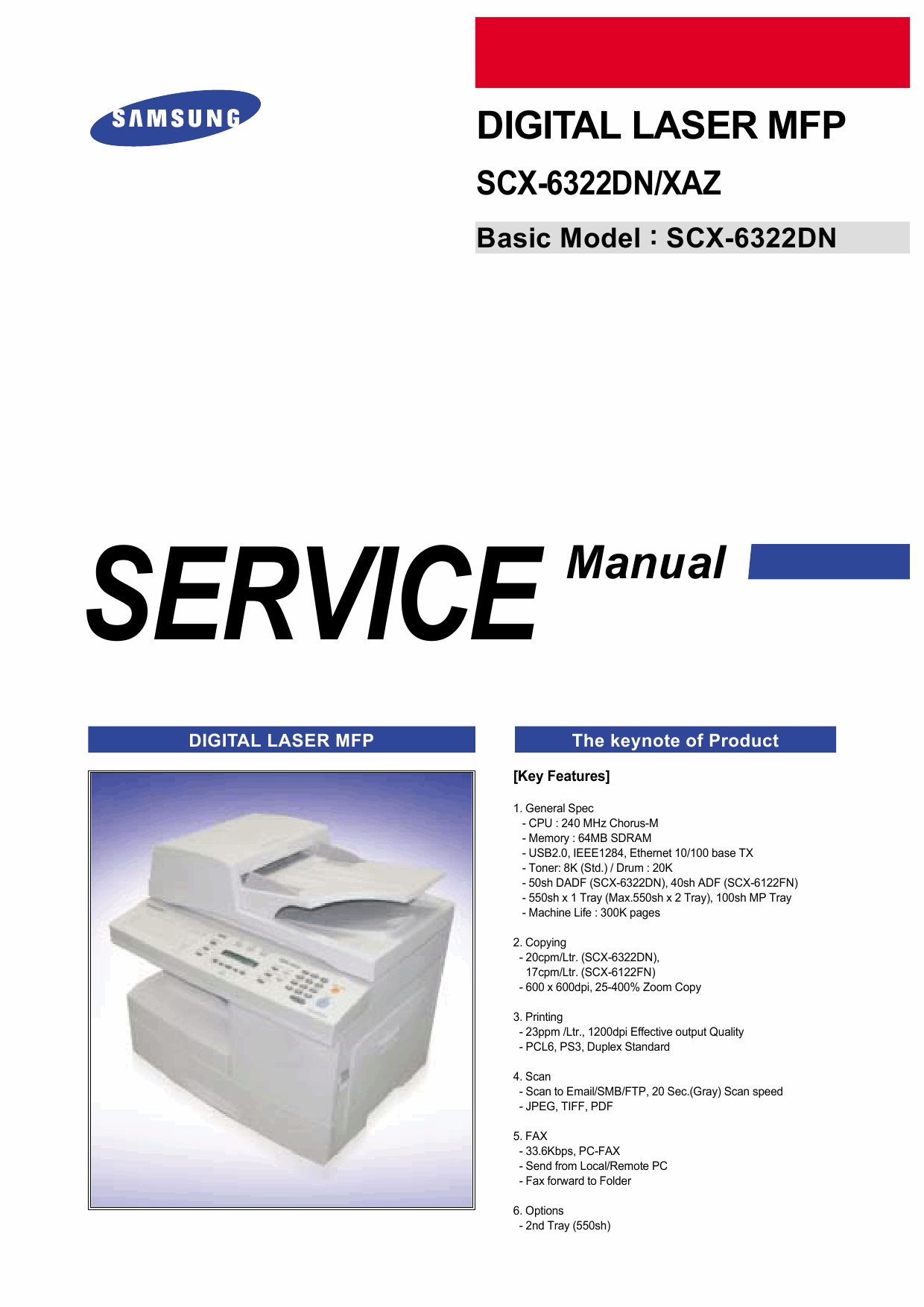 Samsung Digital-Laser-MFP SCX-6322DN XAZ Parts and Service Manual-1